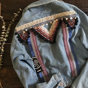 NWT Boom Boom Jeans Boho Embellished Denim Jacket